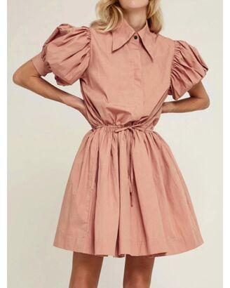 Lapel Collar Puff Sleeve Tie Waist Frill Detail Plain Shrit Dress rose gold