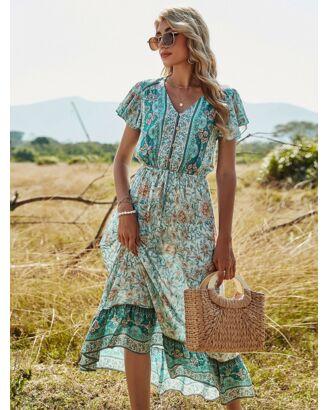 Bohemian V-neck Ruffle Sleeve TightWaist Lace-up All-over Print Maxi Dress green
