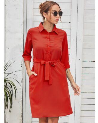 Lapel Collar Button Detail Pocket Decor Soild Dress With Belt 210527955