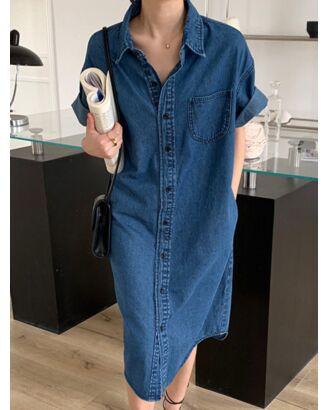 Lapel Neck Single Breasted Pocket Detail Denim Shirt Dress 210528617