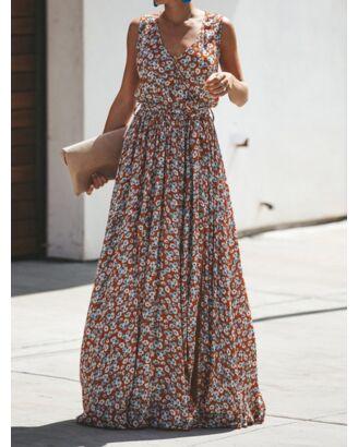 Bohemian V-neck Floral Print Tie Up Split Maxi-Dress 210528724