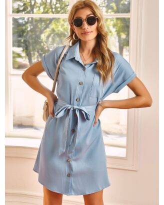 Rolled Sleeve Lapel Collar Single-beasted Pocket Detail Shirt Dress With Belt 210529229