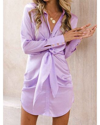 Solid Color Pleated Lace-up Long Sleeve Shirt Dress purple