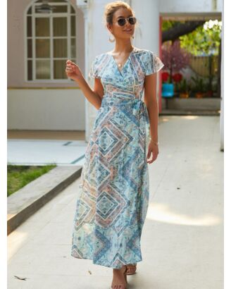 Bohemian FlutterSleeve Floral Print Split Thigh Lace-up Maxi Dress 210601314