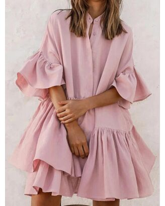 RuffledHem Solid Color Flare Sleeve Button Shirt Dress pink