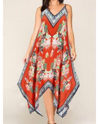 Bohemian Irregular Hem Leaf Print Suspender Dress 210601715