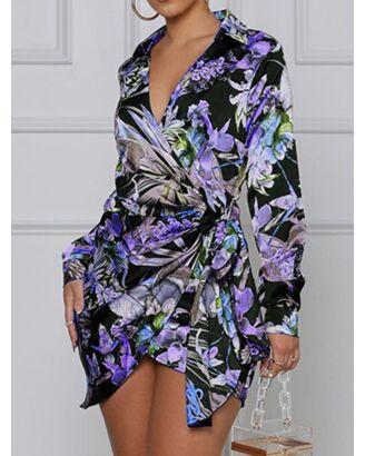 Surplice Neck All-over Print Lace-up Waist Spilt Hem Dress 210602292