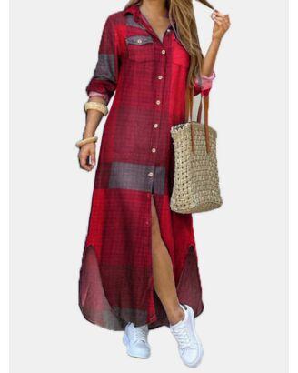 Colorblock Plaid Single Breasted Pocket Long Sleeve Maxi Shirt Dress 210603802