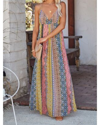 Bohemian V-neck Print Suspender Smock Maxi Dress 210607801