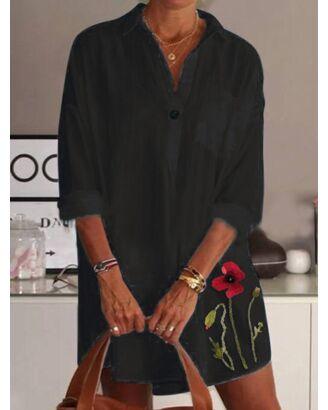 Lapel Collar Pocket Detail Embroidery Flower Shirt Dress black