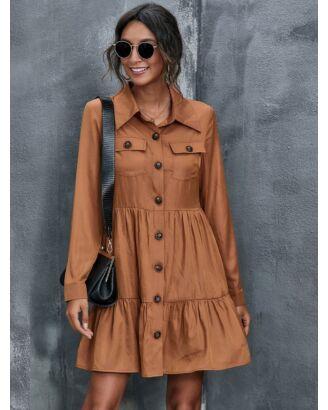 Lapel Button Pocket Plain Ruffled Hem Long Sleeve Shirt Dress 210615689