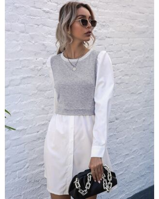 Round Collar Color-block Stitching Long Sleeves Dress 210619433