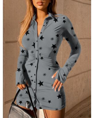 Color Block Button Collar Summer Short Shirt Dress 210626101