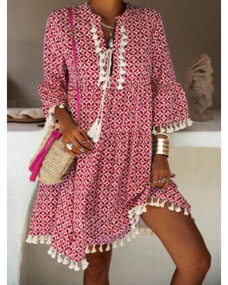 All Over Print Fringe Decor Bohimian Style Dress 210626432