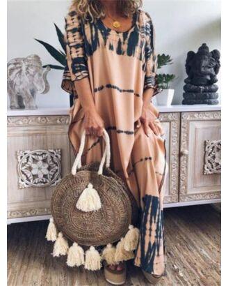 Loose Round Neck Half Sleeve Boho Maxi Dress 210626517