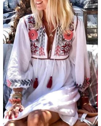 Bohemian Style Floral Print Elastic Cuff Dress 210626601