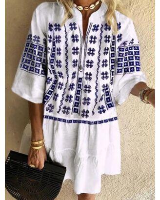 V Neckline Bohemian Style Print Frilled Trim Dress 210626681