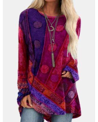 Bohimian Print Crew Neck Long Sleeve Blouse 210630411