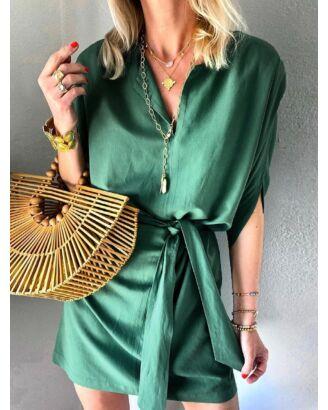 Solid Color V-neck Dress With Belt 210701227