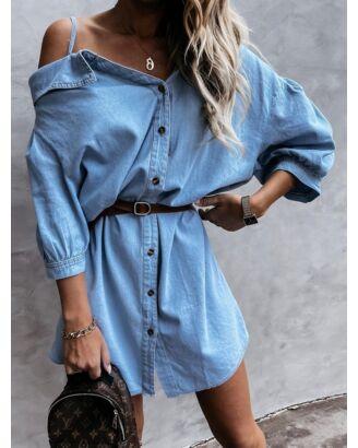 Cold Shoulder Cami Denim Shirt Dress No Belt Attached 210701504
