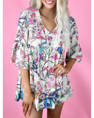 Crew Neck Floral Pattern Loose Short Puff Sleeves Dress 210710102