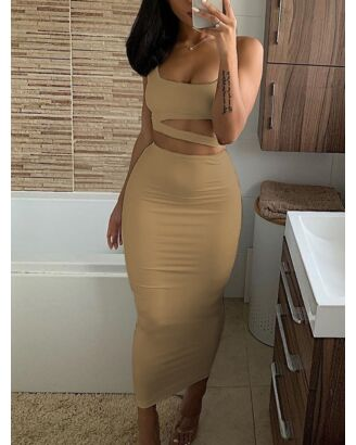 Sexy Slim Crop Top & Long Skirt Two Pieces Set 210720233