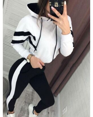 Two Pieces Tracksuits Set Drawstring Stripe Hooded And Pants 210720396