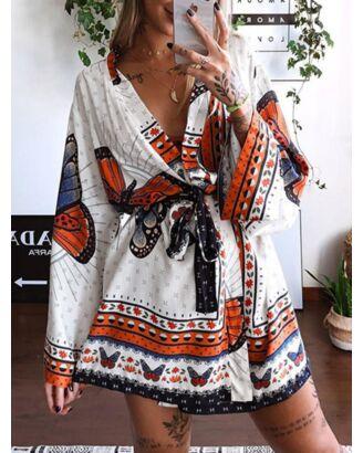 Bohemian All-over Print V-neck Coat Dress With Belt 210720441