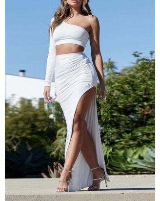 One Shoulder Crop Top T-shirt & Bodycon Thigh Split Long Skirt  210720852