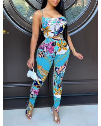 Sexy Tank Top High Waist Split Penctl Pants Floral Printing Two Pieces Sets 210721087