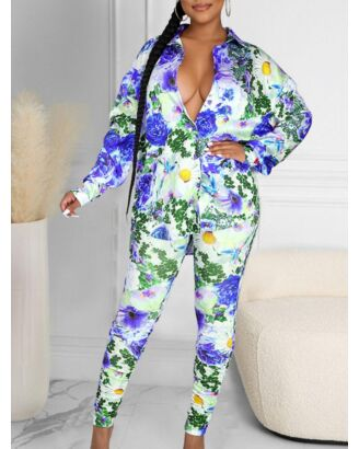 Two Pieces Flower Graphic Outfits Shirt Matching Leggings 210721970