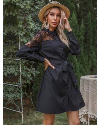 Lace Stitching Shirt Dress With Belt 210722290