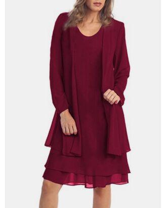Plus Size Casual V-neck Sleeveless Dress Long-sleeve Cardigan 2pcs Dress Set 210724371