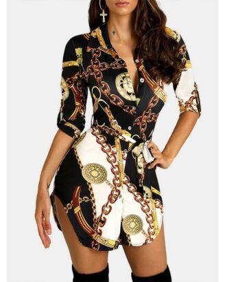 Half Sleeve Printed Button Down Shirt Dress 210724520