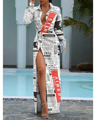 Letter Printing Turn-Down Collar High-slit Maxi Shirt-Dress 210726306