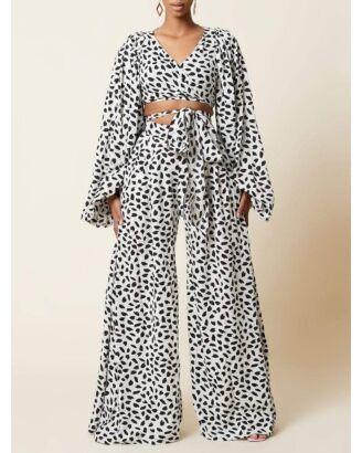 Leopard Print Lantern Sleeve & Wide Leg Pants Two Pieces Set 210726860