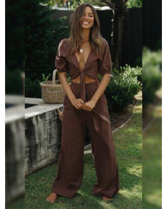 Solid Puff Sleeve Crop Top & Wide Leg Pants 210728312