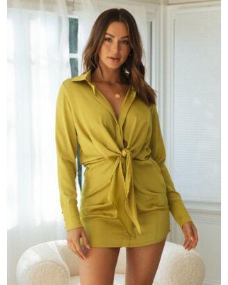 Best-seller V NecklineLace-up Shirt Dress 210728411