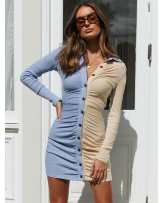 Junior Single Breasted Ruffled Bodycon Dress 210728575