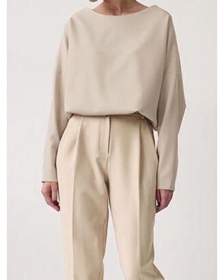 Two Piece Solid Loose Raglan Sleeve Elastic Hem Blouse & Suit Pants 210728963